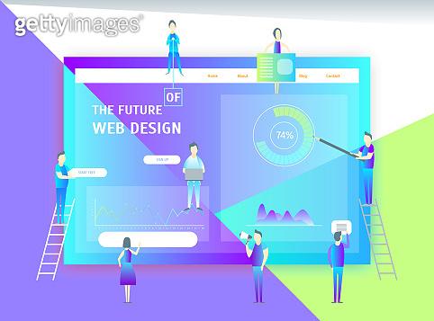 Web Page Design Concept Banner Card. Vector