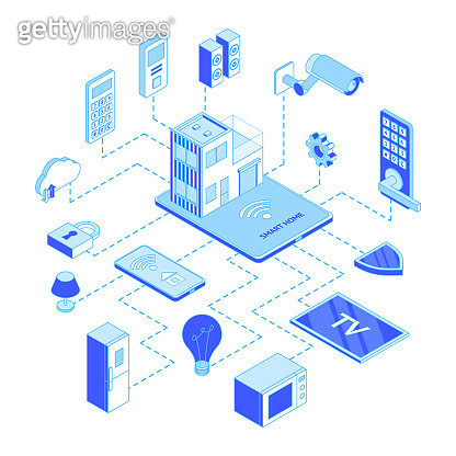 Smart Home Concept 3d Isometric View. Vector