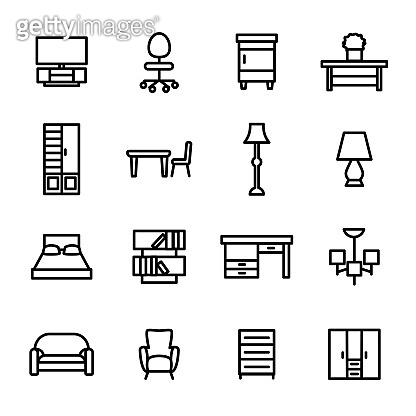Home Furniture Sign Black Thin Line Icon Set. Vector