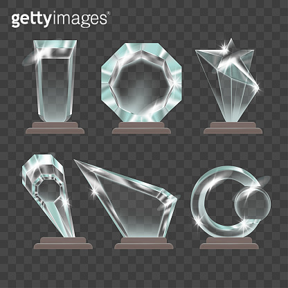 Realistic Detailed 3d Shiny Glossy Transparent Trophies Set. Vector