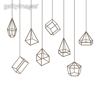 Geometric Glass Container with Thin Line Sides Background. Vector