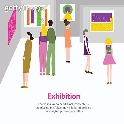 Cartoon Color Exhibition Inside Interior and Visitors Card. Vector