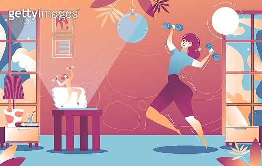 Woman doing aerobics at home video training with dumbbells. Interior scene in vibrant colors with trainer on laptop
