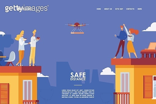 Safe distation of neighbours in various multi-story houses. Sharing food via contactless delivery with drone. Happy urban city scene landing page or banner template.