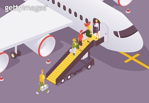 People getting to aircraft isometric scene. Vector characters with luggage and bags walking on passenger stairs while boarding