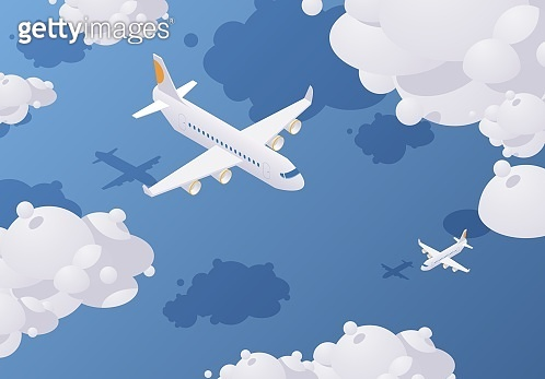 Isometric passenger airplane flying in the sky full of clouds above the blue sea. Vector concept illustration.