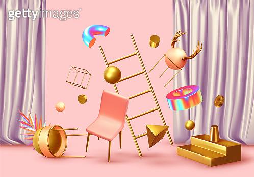 Chaos abstract background with 3d objects.