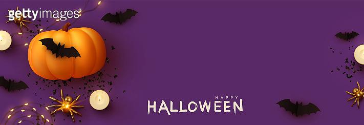 Happy Halloween banner. Festive background with realistic 3d orange pumpkins and flying bats, golden spider, candles, light garlands. Horizontal holiday poster, header for website. Vector illustration