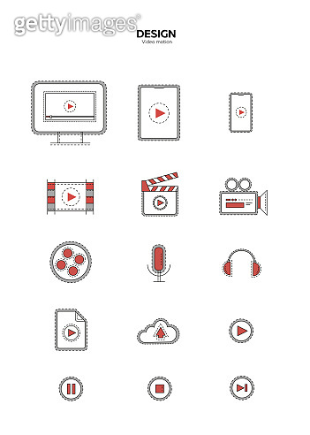 Set of video, cinema, linear icons,movie clapper, film strip, play video, microphone, headphones, download cloud, pause, stop player, fast forward, player icon on mobile, computer stock illustration