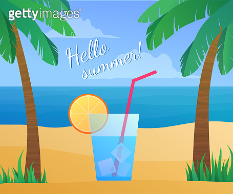 Hello summer banner. Cold cocktail with straw