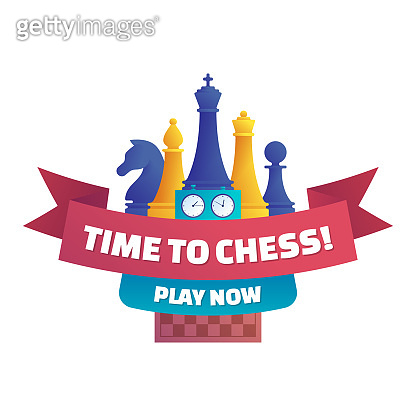 Time to chess, play now isolated sticker.