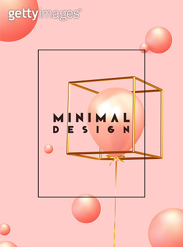 Minimal design background with realistic 3d objects of different shapes