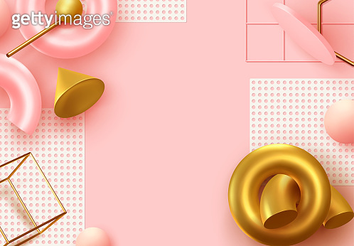 Background with 3d realistic objects. Minimal abstract composition. backdrop with geometric shapes.