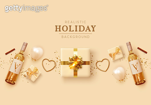 Beige set romantic realistic decorative objects 3d render for design. Gift box, helium balloons, bottle of alcoholic wine, golden metal heart. Flat top view. Romantic composition. Vector illustration
