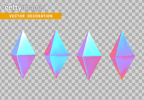 3d set crystal rhombus isolated object on transparent background. vector illustration