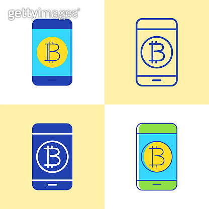 Smartphone with bitcoin icon set in flat and line style