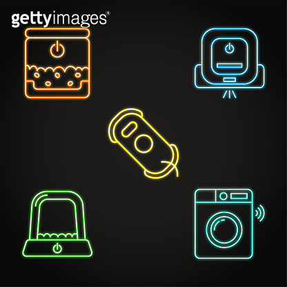 Smart house gadgets icon set in neon style