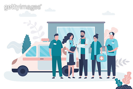 Man and woman doctors. First aid, medical services concept. Group of female and male characters in uniform. Ambulance car