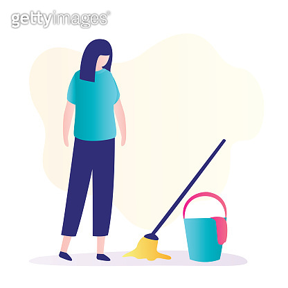Unhappy woman looks at a mop and bucket. Cleaning, household, mopping concept. Cleaning service, sad housewife
