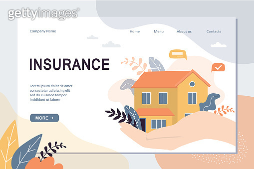 Real estate insurance landing page template. House on hand with care, concept background.
