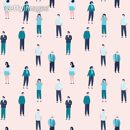 Seamless pattern with crowd of masked people. Group of infected people. Global Virus covid-19. Various people characters.