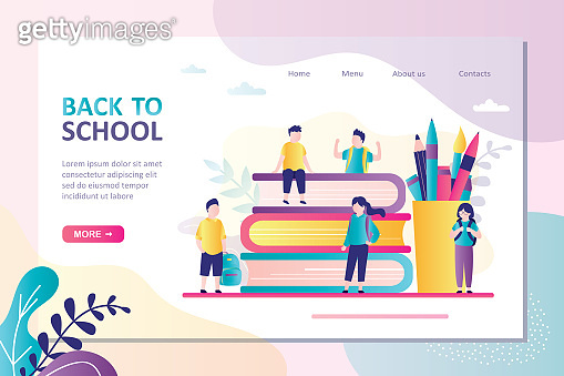 Landing page on theme back to school. Children with backpack go to school after vacation. Classmates meet after holidays