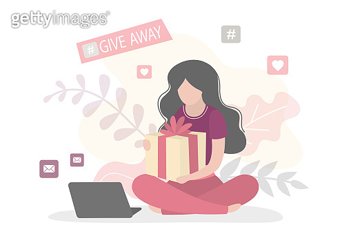 Blogger holding gift box. Woman vlogger gives presents between her followers. Giveaway event or contest.