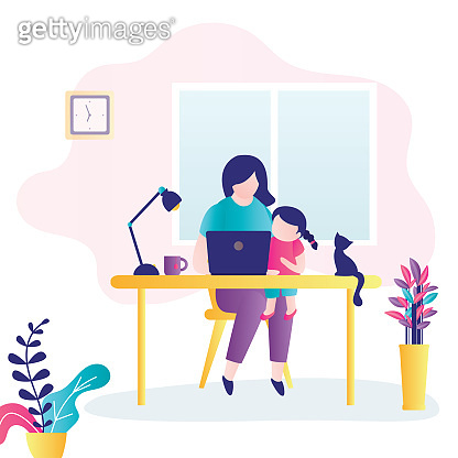 Young mother works on laptop with daughter on lap. Multitasking business woman. Remote work from home during quarantine