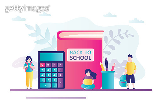 Schoolchildren near big textbook. Concept of back to school, education. Calculator, stationery and supplies. Kid students with backpacks.