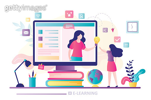 Girl student gets new knowledge and ideas. Web courses or tutorials concept. Education concept.