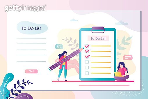 Landing page with businesswoman plans affairs and write notes. To do list template. Office day planner.