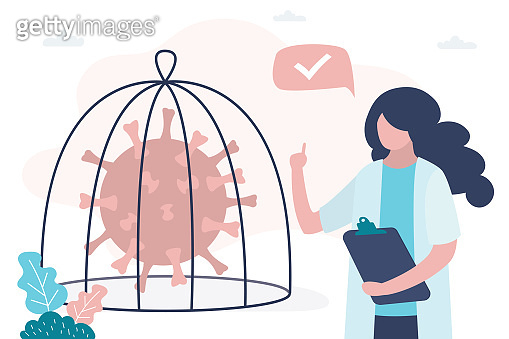 Medical worker in uniform and coronavirus in cage. Stop spread of coronavirus and disease. Victory over the viral infection.