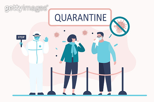 Viral quarantine concept. Sick masked people. Characters sneeze and cough. Virus covid-19.