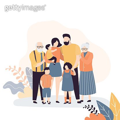 Family portrait. Happy parents with children. Grandparents, Mother,father and three kids