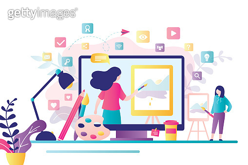 Online art class. E-learning, distance education. Tutorials and web courses. Woman art teacher on screen and girl student