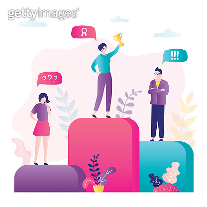 Career ladder concept. Success in business, three various businesspeople standing on podium. Reward, woman winner with prize.