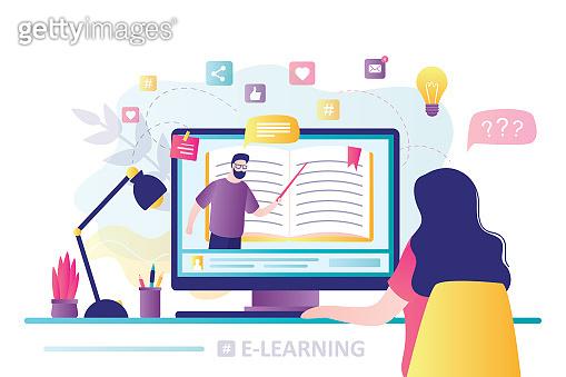 Online education, home schooling. Modern workplace, man teacher on laptop screen, woman watching online course.