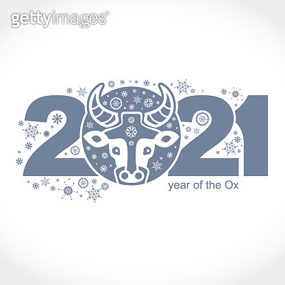 Year of the Ox 2021. Vector template New Year's design on the Chinese calendar.
