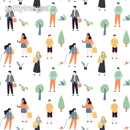 Seamless pattern with cool and fashion people. Various persons on white background