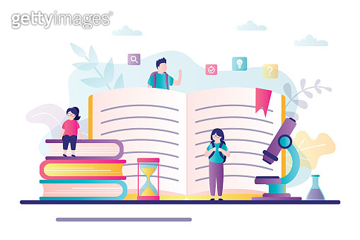 Large open textbook with bookmark. Concept of gaining knowledge and education. Banner on theme back to school. Classmates meet after vacation
