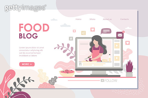 Food blog landing page template. Cooking video on monitor display. Blogger tells how to cook dish.