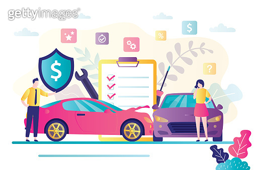Car insurance concept. Automobile protection and safety assurance. Cars damage, safety from disaster.