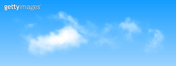 Realistic isolated cloud on blue sky background. Vector.