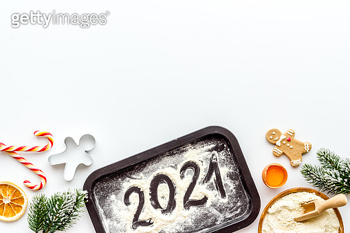 Christmas cooking background with gingerbread cookies, overhead view, flat lay