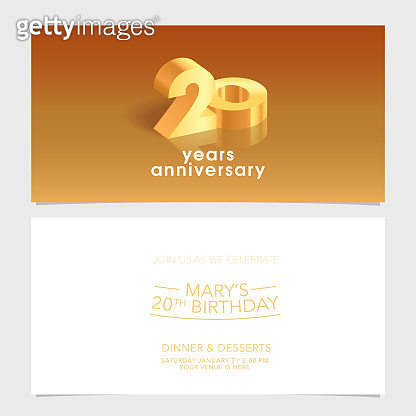 20 years anniversary invitation card vector illustration. Design template element