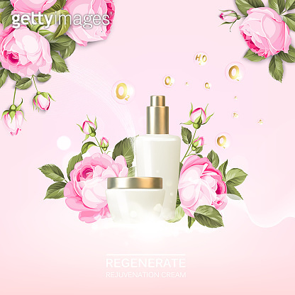 Rose cosmetic label of organic cosmetic and skin care cream. Roses oil and cream. Beauty skin care design over pink