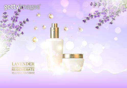 Lavender cosmetic label of organic cosmetic and skin care cream. Lavender cream and oil.