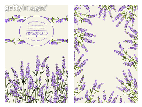 Marriage invitation card with custom sign and flower frame. Lavender frame for provence card. Printable vintage marriage invitation with flowers over gray. Lavender sign label.