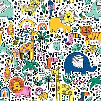 Safari animals kids seamless pattern. Repeating background with line art lion, elephant, tiger, giraffe, toucan bird. African animals children design for fabric, wallpaper, kids apparel, wrapping