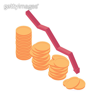 Economic and financial crisis isometric vector illustration.